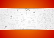 Tech engineering drawing abstract background. Vector design Royalty Free Stock Photo