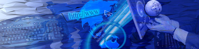 Tech and fast connections. The metaphors in this banner / header represent technology and fast world wide Internet connections Royalty Free Stock Image