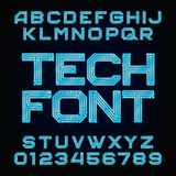 Tech font. Vector Alphabet. Digital hi-tech style letters and numbers royalty free illustration