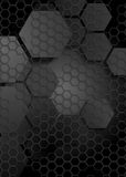 Tech geometric black background with hexagon texture Stock Images