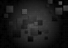 Tech geometric black background with squares Stock Image