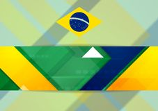 Tech geometry background in Brazilian colors. Tech geometry vector background in Brazilian colors Royalty Free Stock Image
