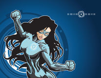 Tech Girl. Technologically advanced looking female superhero in a cyber environment. This image is 1 of 4 that have the same color scheme (see portfolio for Royalty Free Stock Photo