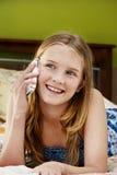 Tech girl, chatting Royalty Free Stock Photo