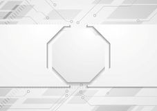Tech grey abstract background with circuit board. Tech grey abstract corporate background with circuit board and octagon. Vector design stock illustration