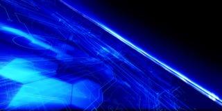 Tech Horizon. Blue Future Tech Horizon with glows and light beams stock illustration