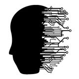 Tech human. Human head silhouette with many connections Royalty Free Stock Photo