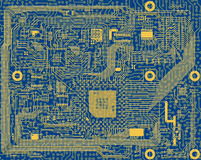 Tech industrial electronic blue circuit background Royalty Free Stock Photos