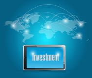Tech investment around the globe. Illustration design over a blue background Stock Photos