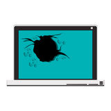 Tech laptop with broken screen Royalty Free Stock Photography