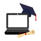 Tech laptop with certificate of graduation and graduation cap Royalty Free Stock Image