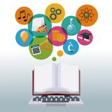 Tech laptop and display open book with bubbles icons academic knowledge. Vector illustration Stock Image