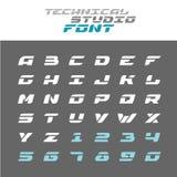 Tech letters stencil font. Wide techno alphabet. Tech letters stencil font. Wide bold italic techno alphabet stock illustration