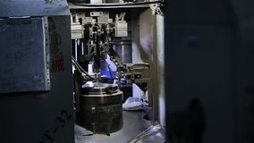 Tech machine at the factory. Processing details stock footage