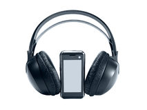 Tech mobile phone with headphones. Isolated on white background royalty free stock image