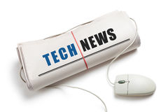 Tech News. Computer mouse and Newspaper Roll with white background stock photography