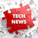 Tech News on Red Puzzle. Royalty Free Stock Images