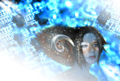 Tech-no elf girl. Futuristic elf with abstract tech-no background Royalty Free Stock Image