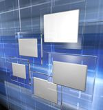 Tech panels, blue. Tech panels in a cyberspace, blue version Royalty Free Stock Photos