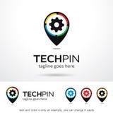 Tech Pin Logo Template Design Vector Vektor Illustrationer