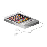 Tech portable music device with headphones lying down Stock Image