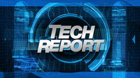 Tech Report - Broadcast News Graphics Title stock footage