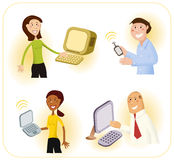 Tech Savvy Computer Users. Four people using computers and wireless internet technology. Could be students, business people, or internet shoppers royalty free illustration