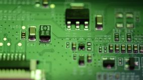 Tech science background. Integrated communication processor and Electronic circuit board, computer hardware technology, digital. Electronic circuit board stock footage