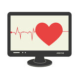 Tech screen computer in wide flat with heart and life signs Stock Images