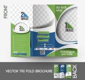 The Tech Shop Tri-Fold Brochure. The Tech Shop Tri-Fold Mock up & Front Brochure Design Royalty Free Stock Images