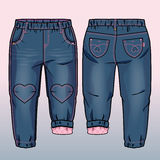 Tech sketch. Denim pants with patches in a shape of heart. Pink lining inside stock illustration