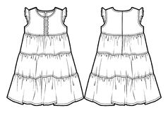 Tech sketch of a summer dress. Front and back sides for further product development vector illustration
