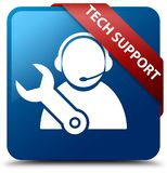 Tech support blue square button red ribbon in corner. Tech support isolated on blue square button with red ribbon in corner abstract illustration Stock Image