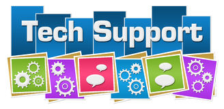 Tech Support Colorful Squares Gears Bottom Royalty Free Stock Image