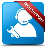 Tech support cyan blue square button red ribbon in corner. Tech support isolated on cyan blue square button with red ribbon in corner abstract illustration Royalty Free Stock Images
