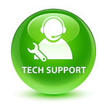 Tech support glassy green round button Royalty Free Stock Photos