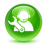 Tech support icon glassy green round button Stock Image
