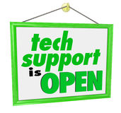 Tech Support is Open Hanging Sign Words Message IT Help Assistan Royalty Free Stock Photography