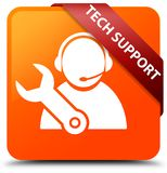 Tech support orange square button red ribbon in corner. Tech support isolated on orange square button with red ribbon in corner abstract illustration Stock Photos