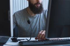 Tech support software engineer workplace headset royalty free stock photography