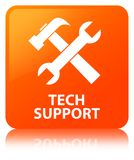 Tech support (tools icon) orange square button. Tech support (tools icon) isolated on orange square button reflected abstract illustration Stock Images
