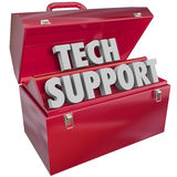 Tech Support Words Toolbox Computer Information Technology Help. Tech Support words in 3d letters in a red metal toolbox to illustrate an information technology royalty free illustration