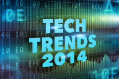 Tech Trends 2014 concept. With blue text Royalty Free Stock Image