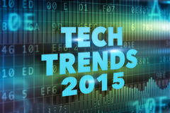 Tech Trends 2015 concept. With blue text vector illustration