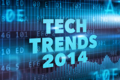 Tech Trends 2014 concept. With blue text Stock Photo