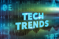 Tech Trends concept. Blue text with graphs vector illustration