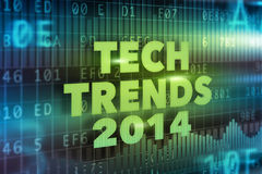 Tech Trends 2014 concept. With green text Royalty Free Stock Photography
