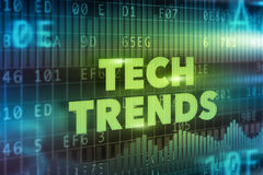 Tech Trends concept. Green text with graphs vector illustration