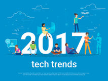 2017 tech trends concept illustration. Of young people using modern technologies such as virtual reality helmet, gadgets for augmented reality and remote Stock Images