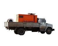Tech truck. A truck with equipment, used by roadworks, isolated Royalty Free Stock Image